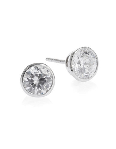 Expression Sterling Silver Round Bezeled Sparkling Earrings-SILVER-One Size