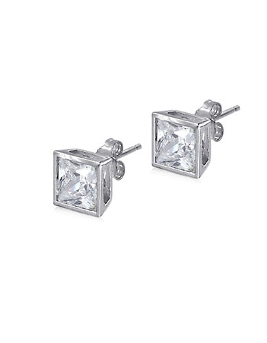 Expression Sterling Silver Square Bezel Sterling Silver Stud Earrings-SILVER-One Size