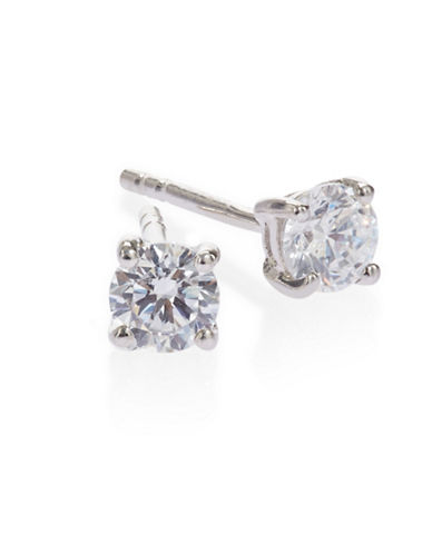 Expression Sterling Silver Round Cubic Zirconia Earrings-SILVER-One Size
