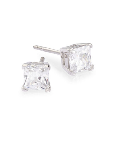 Expression Sterling Silver Square Cubic Zirconia Stud Earrings-SILVER-One Size