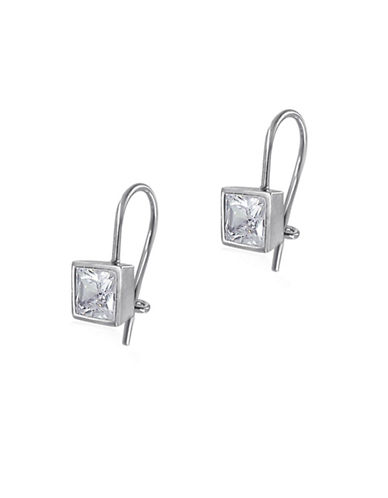 Expression Sterling Silver Sterling Silver Square Leverback Earrings-WHITE-One Size
