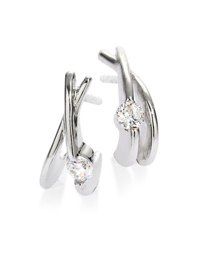 Expression Sterling Silver Half Moon Sparkling Earrings-SILVER-One Size