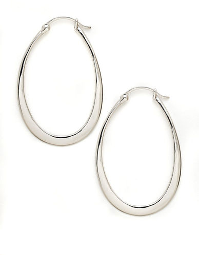 Expression Sterling Silver Sterling Silver Oval Hoop Earrings-SILVER-One Size