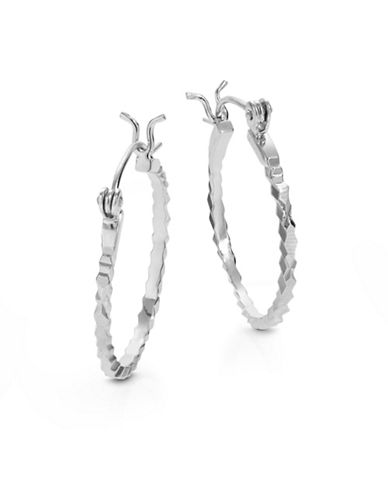 Expression Sterling Silver Diamond-Cut Hoop Earrings-SILVER-One Size