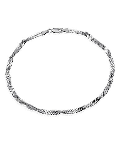 Expression Sterling Silver Sterling Silver Singapore Chain Anklet-SILVER-One Size