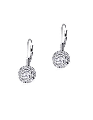 Expression Sterling Silver Sterling Silver Round Pave Earrings-SILVER-One Size