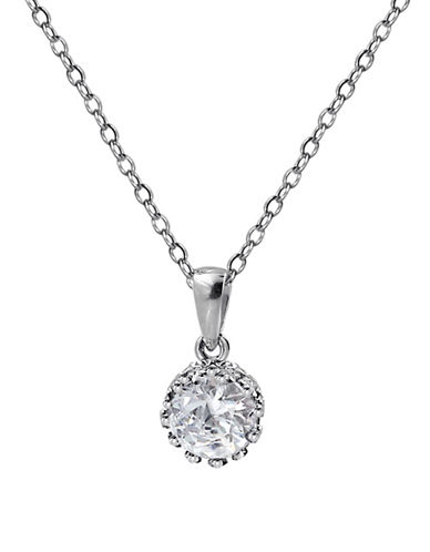 Expression Sterling Silver Crown Prong Crystal Pendant Necklace-SILVER-One Size