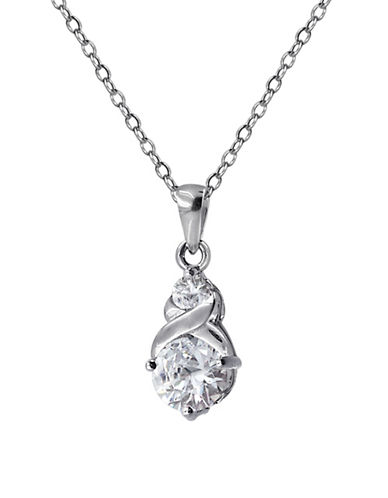 Expression Sterling Silver Double Drop Pendants Necklace-SILVER-One Size
