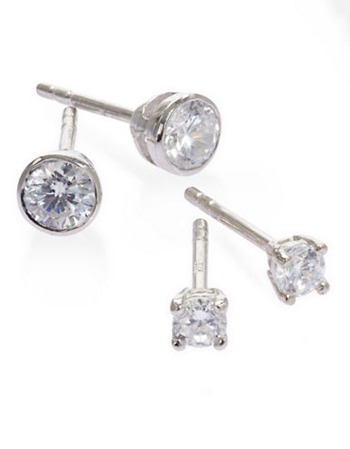 Expression Sterling Silver Set of Two Stud Earrings-SILVER-One Size