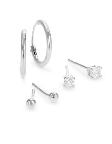 Expression Sterling Silver Three Pair Mixed Earring Set-SILVER-One Size