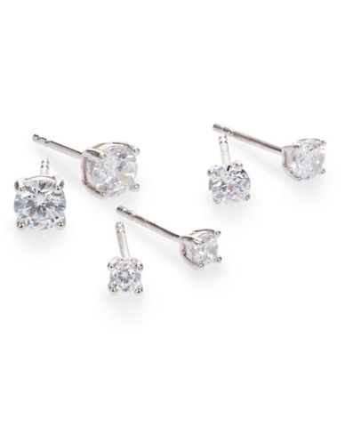 Expression Sterling Silver Set of Three Sparkle Earrings-SILVER-One Size