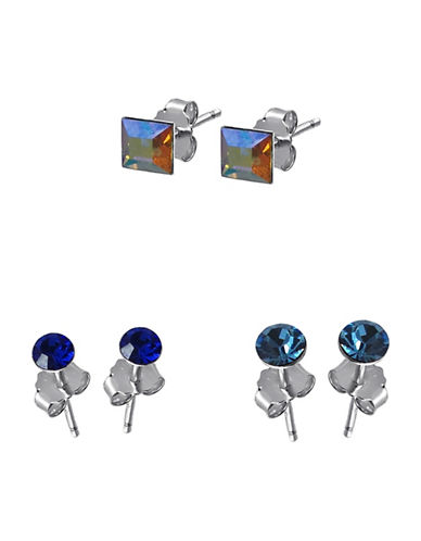 Expression Sterling Silver Set of Three Pairs Crystal Sterling Silver Earrings-MULTI-One Size