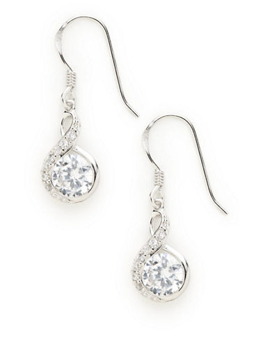Expression Sterling Silver Sterling Silver  S Shape CZ Drop Earrings-SILVER-One Size