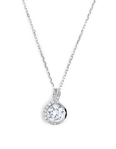 Expression Sterling Silver Sterling Silver Curved Pendant With Cubic Zirconia-SILVER-One Size