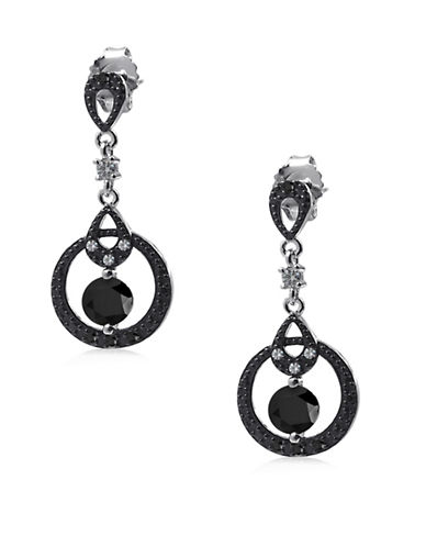 Expression Sterling Silver Pave Gypsy Hoop Earrings-BLACK-One Size