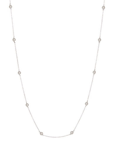 Expression Sterling Silver Bezeled Cubic Zirconia Station Necklace-SILVER-One Size