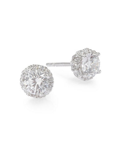 Expression Sterling Silver Four-Prong Cubic Zirconia Stud Earrings-SILVER-One Size