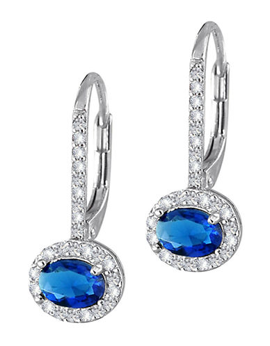 Expression Sterling Silver Sterling Silver Cubic Zirconia And Dark Sapphire Earrings-SILVER-One Size