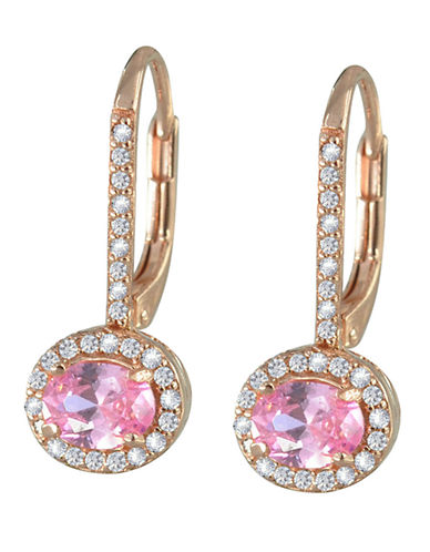 Expression Sterling Silver Rose Gold Plated Cubic Zirconia And Pink Cubic Zirconia Earrings-PINK-One Size