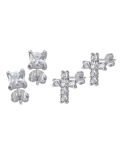 Expression Sterling Silver Sterling Silver CZ  Set Earrings-SILVER-One Size