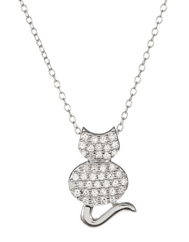 Expression Sterling Silver Sterling Silver and Cubic Zirconia Cat Pendant Necklace-SILVER-One Size