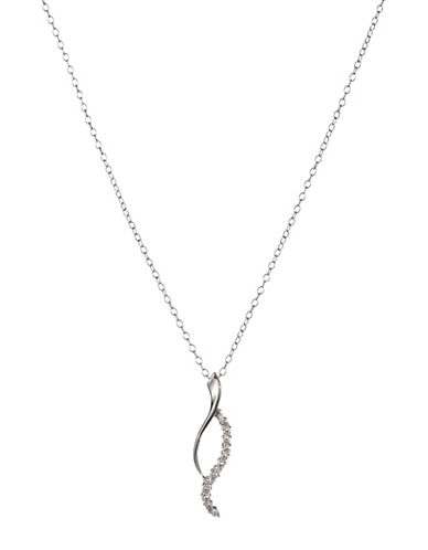 Expression Sterling Silver Sterling Silver and Cubic Zirconia Twisted Pendant Necklace-SILVER-One Size