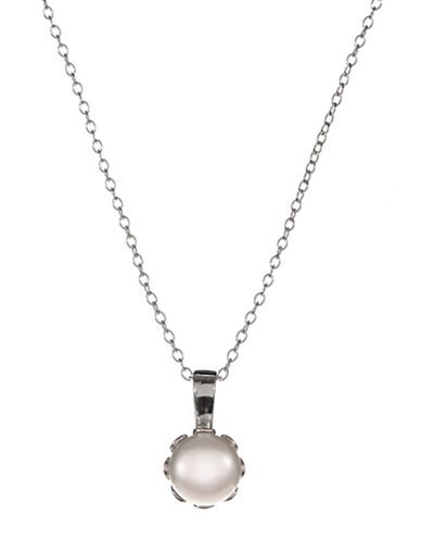 Expression Sterling Silver Sterling Silver and Cubic Zirconia Crown Pearl Pendant Necklace-SILVER-One Size