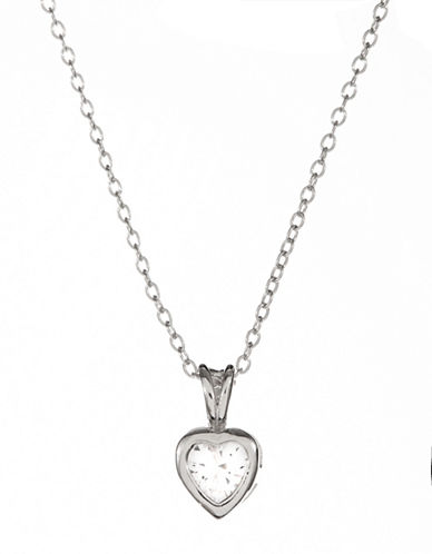 Expression Sterling Silver Sterling Silver and Cubic Zirconia Heart Bezel Pendant Necklace-SILVER-One Size