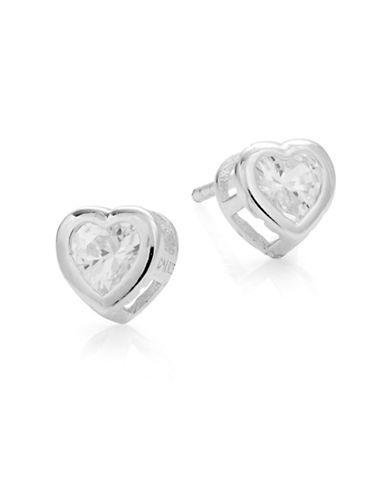 Expression Sterling Silver Sterling Silver Heart Bezel Stud Earrings-SILVER-One Size