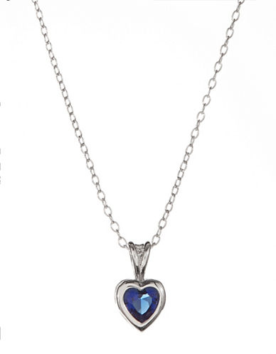 Expression Sterling Silver Sterling Silver and Blue Sapphire Heart Bezel Pendant Necklace-SILVER-One Size