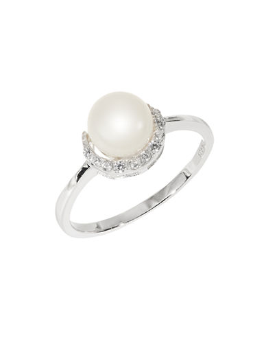 Expression Sterling Silver Pearl and Cubic Zirconia Ring-SILVER-7