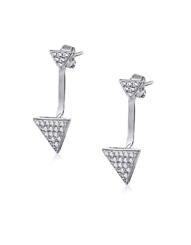 Expression Sterling Silver Triangle Sterling Silver Jacket Earrings-SILVER-One Size