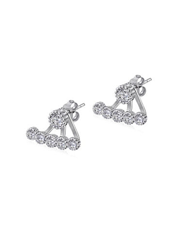 Expression Sterling Silver Sterling Silver Pave Row Jacket Earrings-SILVER-One Size
