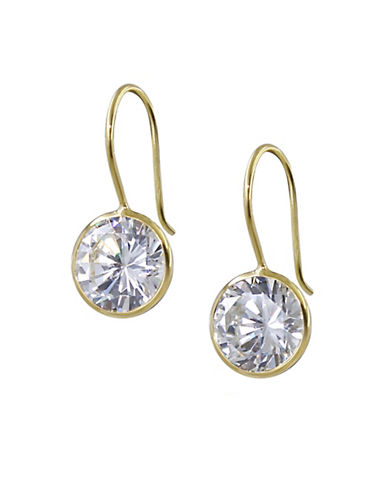 Expression Sterling Silver Round Drop Cubic Zirconia Earrings-GOLD-One Size