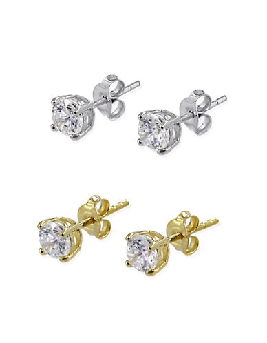 Expression Sterling Silver Two-Pack Goldtone Sterling Silver Stud Earrings-GOLD-One Size
