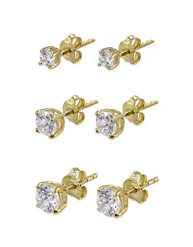 Expression Sterling Silver Three-Pack Goldtone Sterling Silver Stud Earrings-GOLD-One Size