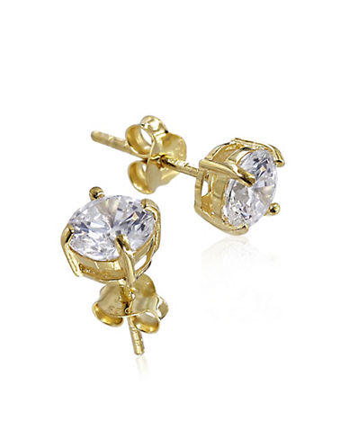 Expression Sterling Silver Cubic Zirconia and Goldtone Medium Studs-GOLD-One Size