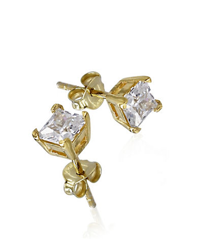Expression Sterling Silver Cubic Zirconia and Goldtone Small Square Studs-GOLD-One Size