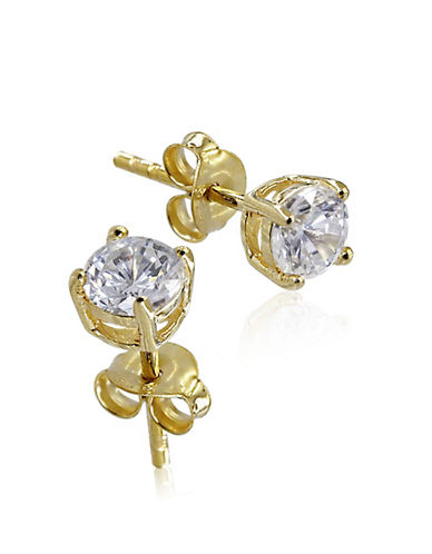 Expression Sterling Silver Cubic Zirconia and Goldtone Small Studs-GOLD-One Size