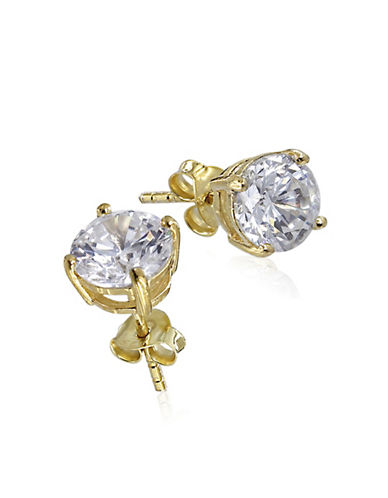 Expression Sterling Silver Cubic Zirconia and Goldtone Large Studs-GOLD-One Size