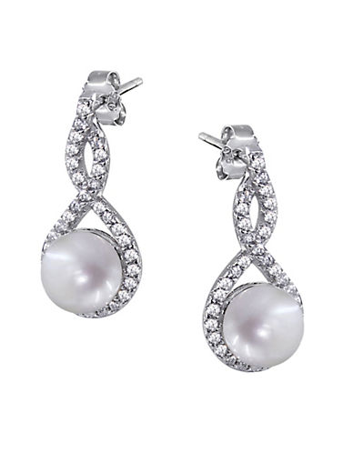 Expression Sterling Silver Pearl and Cubic Zirconia Sterling Silver Twist Drop Earrings-SILVER-One Size