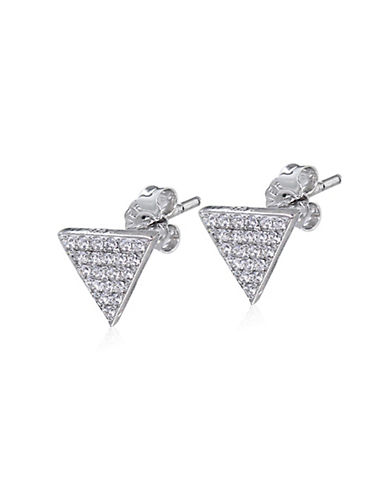 Expression Sterling Silver Sterling Silver Pave Triangle Earrings-SILVER-One Size