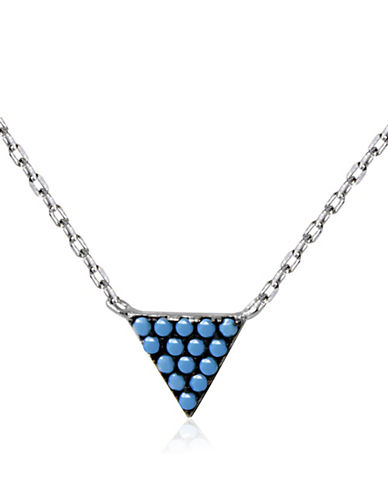Expression Sterling Silver Stone Embellished Triangle Pendant Necklace-SILVER-One Size