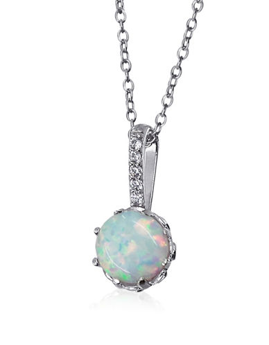 Expression Sterling Silver Opal Pendant Necklace-SILVER-One Size
