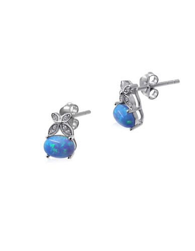 Expression Sterling Silver Blue Opal Sterling Silver Earrings-SILVER-One Size