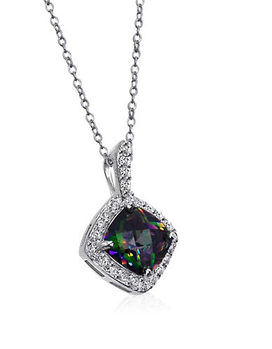 Expression Sterling Silver Centre Stone Pave Pendant Necklace-SILVER-One Size