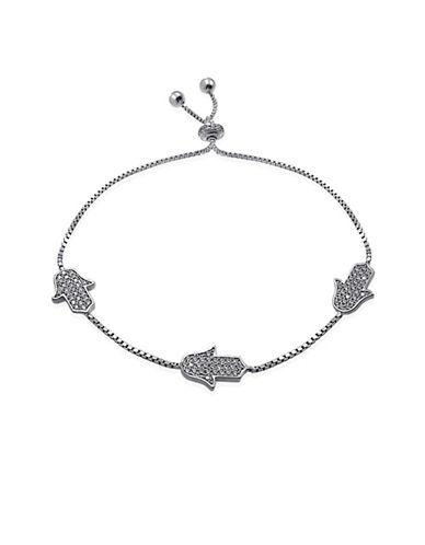 Expression Sterling Silver Pave Hands Bracelet-SILVER-One Size