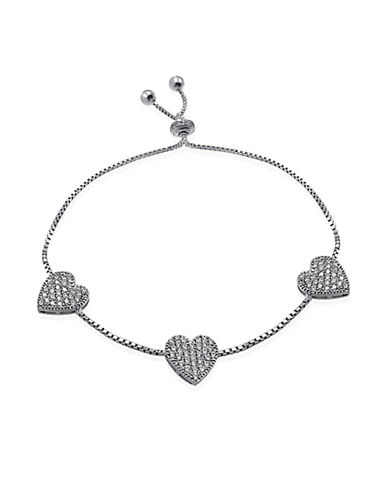 Expression Sterling Silver Pave Hearts Bracelet-SILVER-One Size