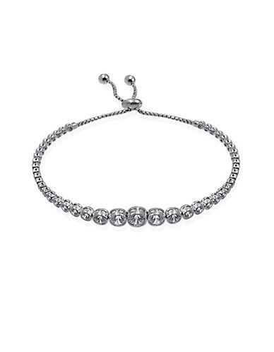 Expression Sterling Silver Round Crystal Adjustable Bracelet-SILVER-One Size