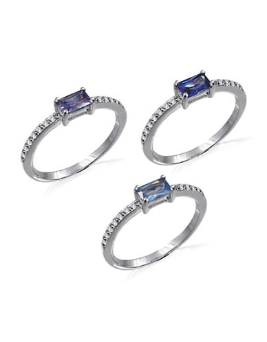 Expression Sterling Silver Cubic Zirconia and Rhodium-Plated Ring Set-ASSORTED-One Size